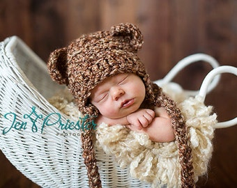 Baby Bear Earflap Hat, Newborn bear hat - Photo prop