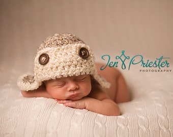 Baby Aviator hat, Baby Pilot hat, Newborn aviator hat, Photo Prop