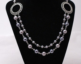 Double Strand Swarovski Pearl & Crystal Necklace