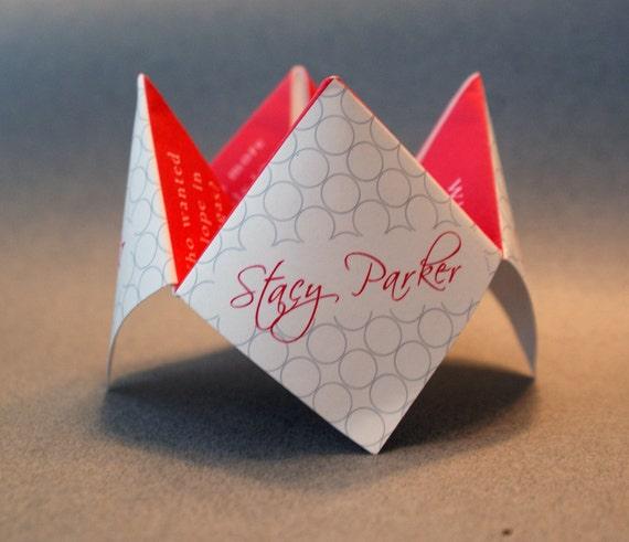 Wedding Favor, Cootie Catcher, Wedding Decoration, Wedding Invitation, Wedding Program, Personalized, Party, Origami, DIY, Menu, Custom