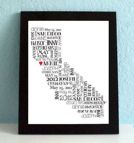 Wedding Gift, State Map, Personalized Wedding Print, Graduation, Custom, State Art, State Print, California, Personalized, Gift, Silhouette