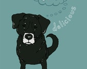 OLD DOG DAYDREAM Art Print - Dog Art Print - Blue and Black 8x10 - Black Lab
