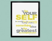 BE YOURSELF Art Print - 8x10 Yellow and Gray Typography Print