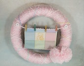 Pink Wrapped Child's Wreath, Pooh Bear Mini Quilt, Pink Pom Poms, Mini Clothesline