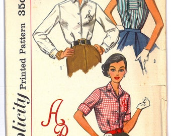 2195 1950's Women's Blouse Vintage Sewing Pattern Simplicity 2195 Bust 38