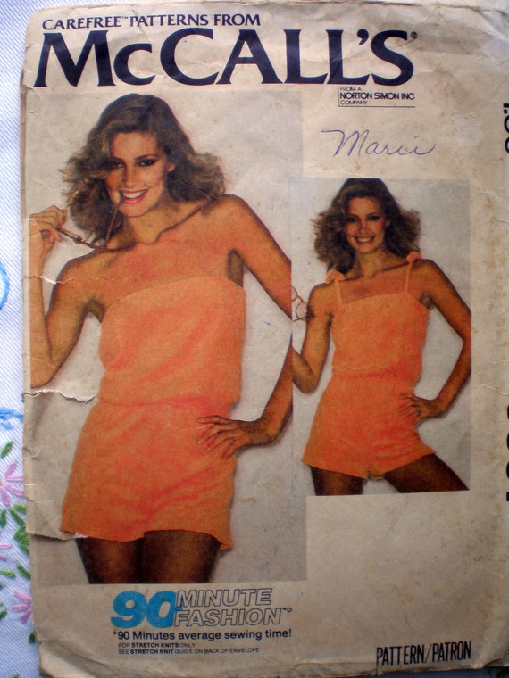 McCall's 6597 Cute Vintage 70s Romper Playsuit Sewing Pattern Size Medium