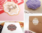 """Custom Stickers - Personalized 108 Round Scallop Die Cut Labels for Packaging , Wedding Seals , Scrapbooking, 1.25"""""""