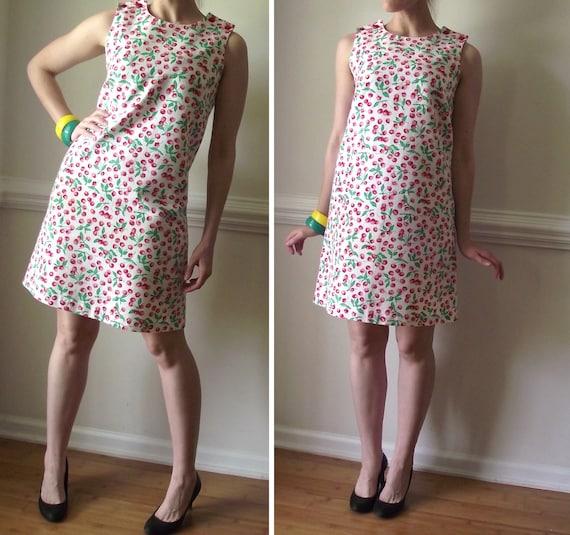 60s Mod Dress / Sleeveless Playsuit Jumper Mini Shift Cherry Novelty Print Sack Red Romper 1960s Vintage Womens 2 4 6 S M Clothing Cherries