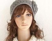 Crochet headband, boho head wrap, ear warmer medium gray - handmade Winter Fashion Winter Accessories by Sandy Coastal Designs made to order