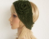 Crochet headband, boho headwrap, ear warmer - olive green - handmade Womens Accessories Winter Fashion Sandy Coastal Designs made to order