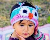 Crochet owl headband - pink, turquoise - infant - toddler - pre-teen - handmade Fall Fashion Winter Fashion Sandy Coastal Designs