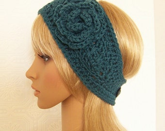 Crochet headband, headwrap, ear warmer - antique teal Adult headband Winter Fashion Accessories by Sandy Coastal Designs - ready to ship