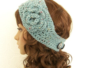 Crochet headband, boho headwrap, ear warmer - blue fleck or your color choice - winter accessories gift for her Sandy Coastal Designs