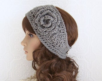 Crochet headband, boho head wrap, ear warmer medium gray - women's accessories Winter Fashion handmade Sandy Coastal Designs - made to order