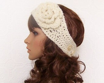 Crochet headband, headwrap, earwarmer - ivory - Winter Fashion Accessories Sandy Coastal Designs - ready to ship