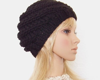 Hand knit hat - your color choice or black - Women's Black Beanie Winter Fashion Winter Accessories by Sandy Coastal Designs - made to order