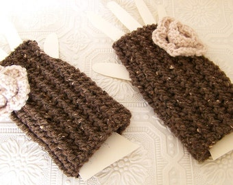 Crocheted Fingerless Gloves with flower - Fingerless Mittens - barley brown or your color choice - Winter Fashion by Sandy Coastal Designs