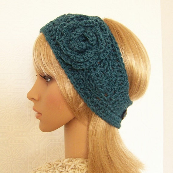 Crochet headband, headwrap, ear warmer - antique teal - handmade ...