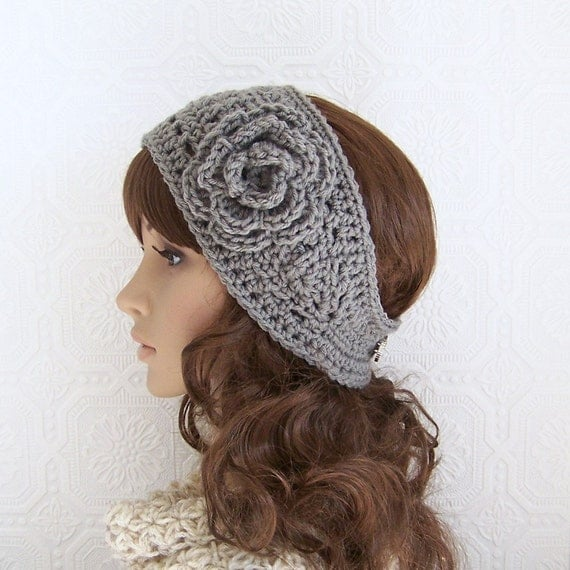 Crochet Ear Warmer : Crochet headband, boho head wrap, ear warmer medium gray - womens ...