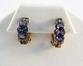 Amethyst Stone and Sterling Silver with Gold Wash Hoop Earrings