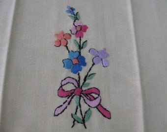 Tea Towels Yellow Hand Embroidered Set of 2