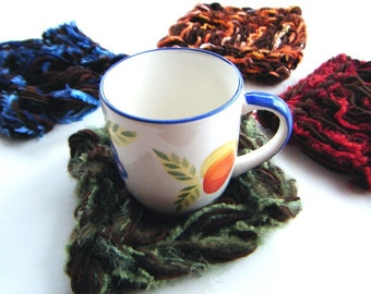 Four Coasters Set. Thick, Brown Multicolor Insulating, Hand Knit Functional Dining Room Housewares Home Decor