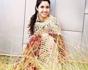 Boho Decor Aztec Southwestern Decor Blanket Mayan Afghan Knit Throw - Outdoor Garden Decor Housewares