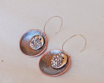 Hammer Textured Copper and Fine Silver Double Disc Earrings Handmade
