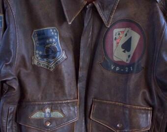 "Vintage 80's ""Top Gun"" Unisex Brown Leather Bomber Aviation Jacket - Chest 44 - Style - Fashion - Steampunk - Aviator"