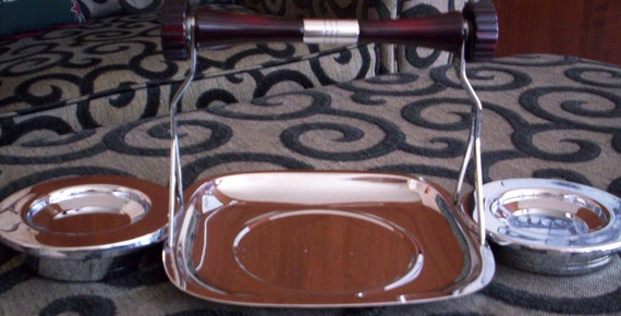 Vintage 60's Mid Century Gourmates by Glo-Hill Chrome Dessert Serving Caddy with Bakelite Handle - Entertaining - Coffee - Tidbit Tray