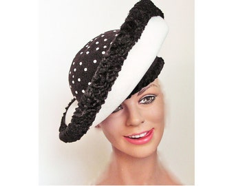 1950's Winter Atomic Platter Black and White Wool Hat