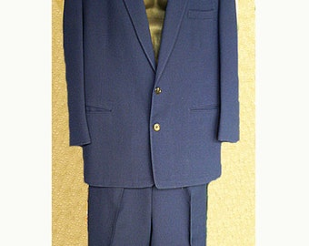 REDUCED Man's Navy Hollywood Suit W35, Jacket 48 Blue Wool suit with Peg Pants