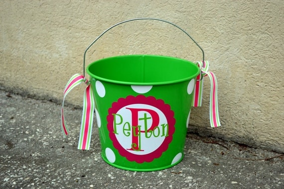 Lime Green 5 QT Tin Bucket- PERSONALIZED Pail - Halloween Candy Bucket - Easter bucket