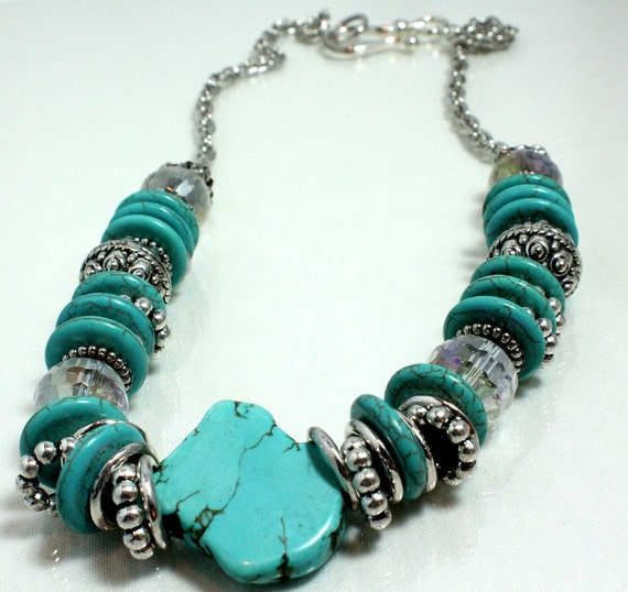 Turquoise and Crystal Chunky Necklace