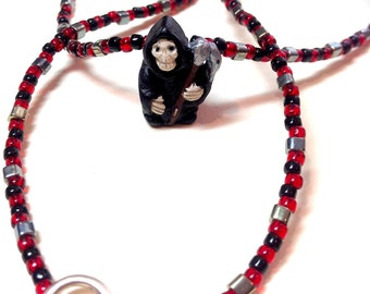 """Grim Reaper Beaded Necklace - 20"""" -  Black, Red & Sterling Silver - Toggle Clasp - Ceramic Bead - spooky cute - teen tween - goth gothic emo"""