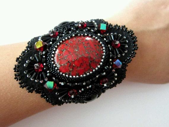 Red Matrix Beaded Cuff Bracelet - RESERVED FOR KAREN