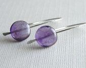 Amethyst earrings - sterling silver hand made ear wires