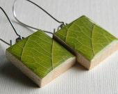 Scrabble Tile Earrings - Spring Green Leaf