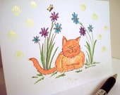 Note Cards original art blank inside all occasion greeting cards kitty cat in flowers 1 each