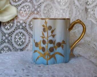 Vintage Demitasse Cup Hand Painted Gold Design Pale Blue Gold Demitasse Cup Espresso Vintage 1960s