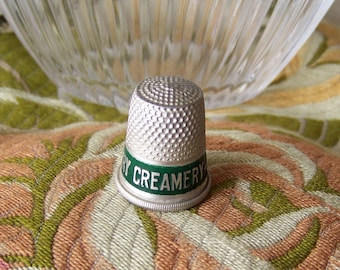 Vintage Aluminum Thimble Advertising Thimble Lawrence Sanitary Creamery Thimble Collector 1930s