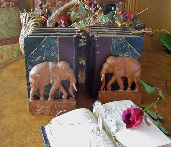 Vintage Wood Elephant Bookends