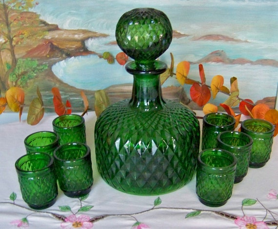 Vintage Decanter with 8 Glasses RESERVED