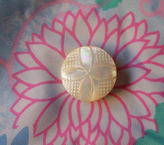 Vintage Mother of Pearl Hand Carved Button