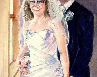 Custom Watercolor Portraits from your wedding photo