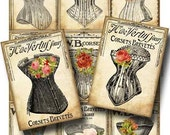 Instant Download Victorian Corset Digital Collage Sheet for Paper Crafts Decoupage Tags Original Whimsical Altered Art by Gallery Cat CS49
