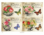 Teapots and Roses  Digital Collage Sheet Instant Download Paper Crafts Card Original Whimsical Altered Art by Gallery Cat CS74