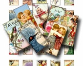 FANCIFUL FUN Digital Collage Sheet Instant Download 1 x 2 Inch Images Paper Crafts Original Whimsical Altered Art by Gallery Cat CS87