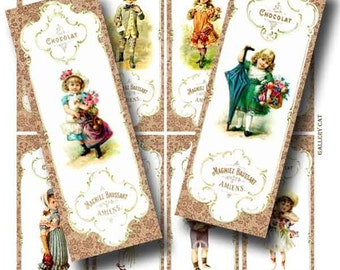 Victorian Children Digital Collage Sheet Instant Download for Bookmark Favors Tags Gallery Cat CS34