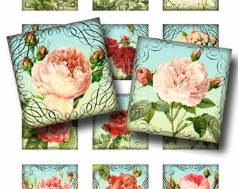 Antique Rose Garden Digital Collage Sheet Instant Download for Jewelry Pendants Paper Crafts  Whimsical Altered Art by GalleryCat CS65